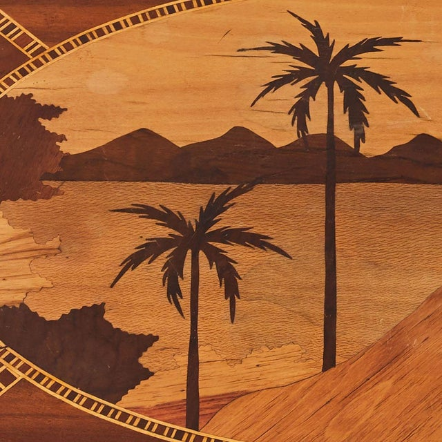 Mid-Century Modern Mid-Century Modern Island Themed Inlaid Mahogany Serving Tray For Sale - Image 3 of 5