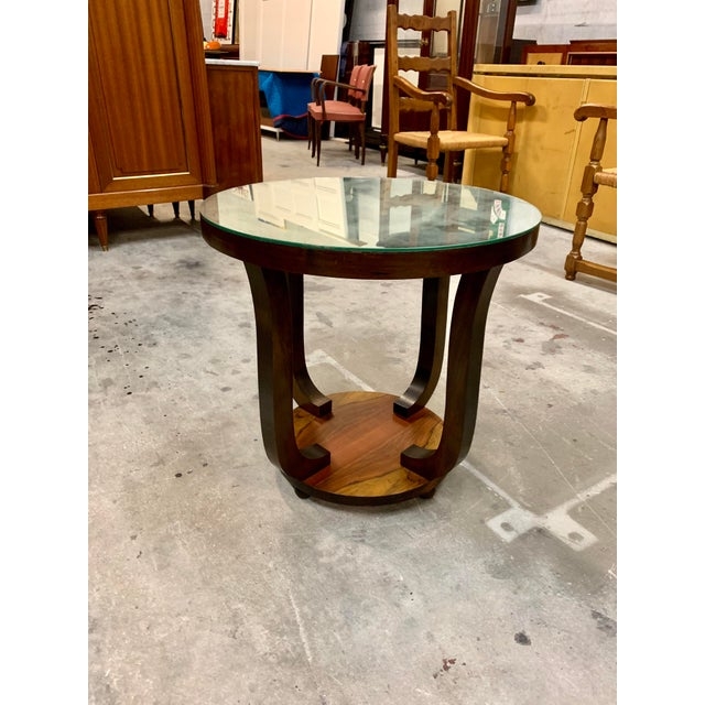 Art Deco 1940s Vintage French Art Deco ''Tulip'' Macassar Coffee Table or Side Table For Sale - Image 3 of 13