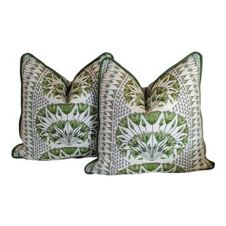 Cairo in Blue/Green by Thibaut Pillow Covers - a Pair For Sale