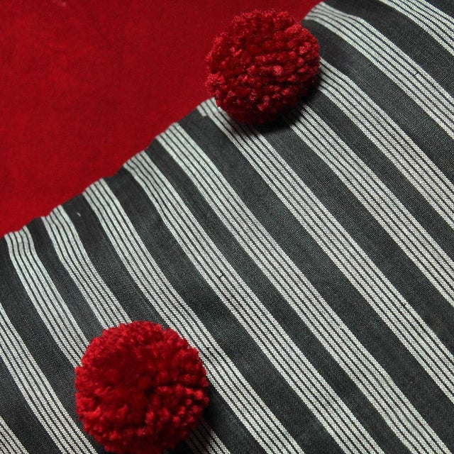 Black Lurik Pillow with Cranberry Red Pom-poms Tassels - Image 5 of 6