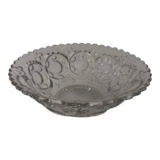 Vintage Clear Pressed Glass, Shamrock & Portal Serving Bowl For Sale