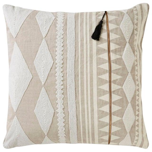 Nikki Chu by Jaipur Living Lonyn Beige/ White Geometric Poly Throw Pillow For Sale