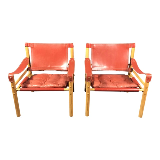 Pair of Arne Norell Red Leather Sirocco Chairs For Sale