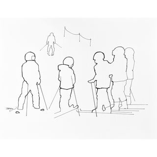 """""""Ski School V"""" Contemporary Minimalist Figurative Ink Drawing by Tawna Allred For Sale"""