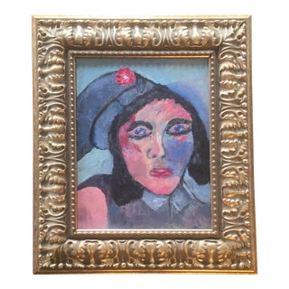 Mid-Century Modernist Female Portrait Painting