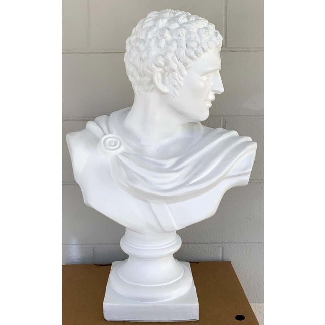 "Large Italian white lacquered terracotta bust of apollo, raised on 9-inch square pedestal base, 20"" wide x 29"" high."