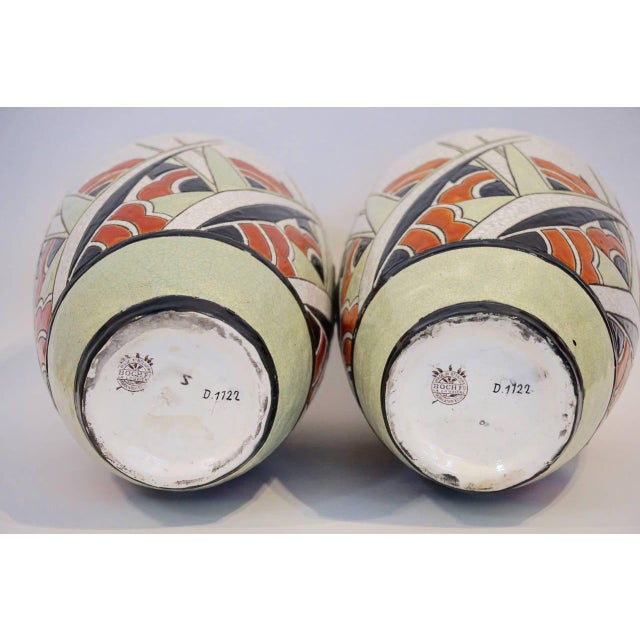 Early 20th Century Matching Charles Catteau Geometric Vases - a Pair For Sale In Los Angeles - Image 6 of 6