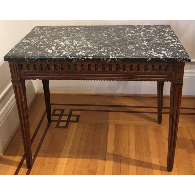 18th Century Fruit Wood Marble Top Console Table For Sale In Seattle - Image 6 of 6