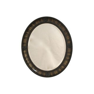 Faux Grained Oval Framed Beveled Glass Mirror For Sale