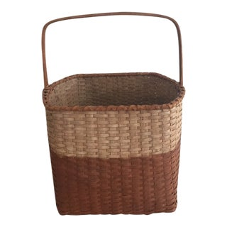 Hand Made Painted Oak Basket For Sale
