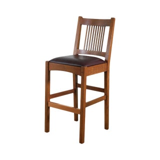 Stickley Mission Collection Oak Spindle Stool For Sale