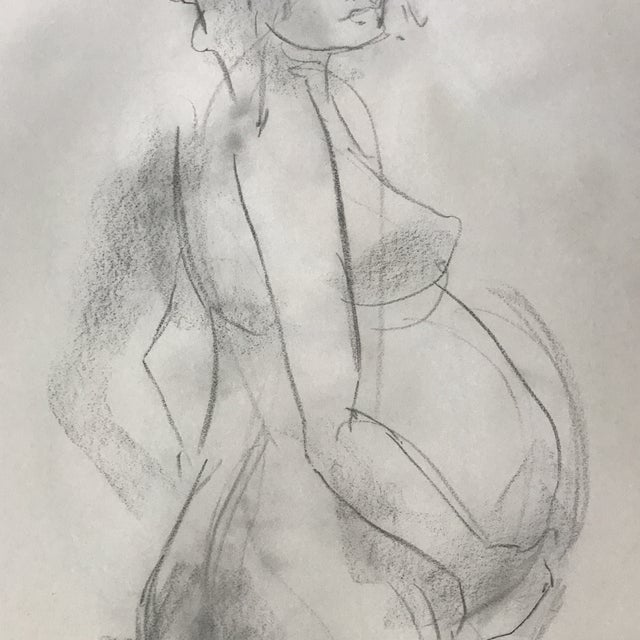 Figurative Standing Pregnant Nude Drawing For Sale - Image 3 of 4