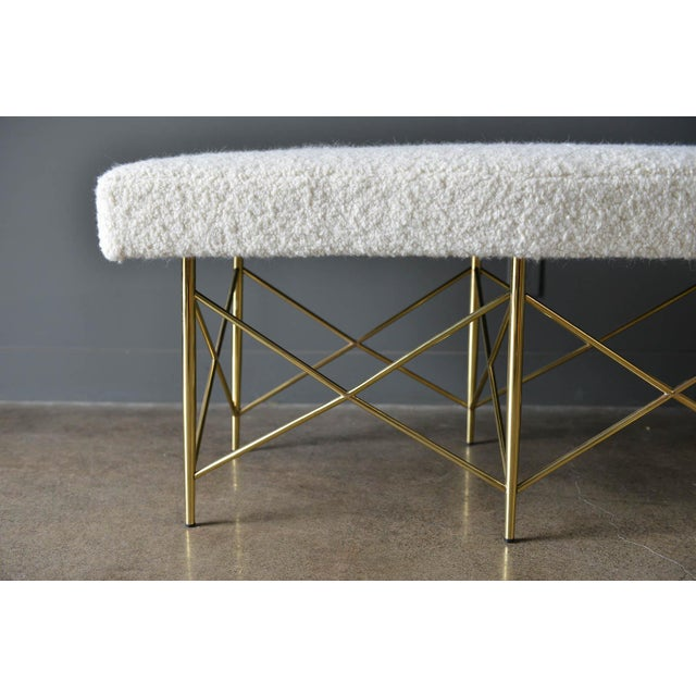 1970s Ivory Bouclé and Brass X-Base Ottoman Bench For Sale In Los Angeles - Image 6 of 12