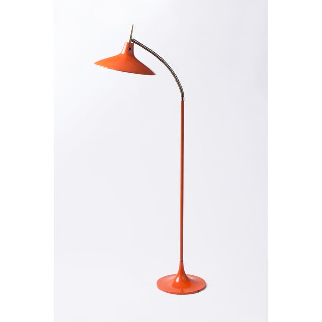 Gio Ponti Style Shapely Enameled and Brass Gooseneck Mid-Century Modern Floor Lamp Circa 1950's For Sale In New York - Image 6 of 6