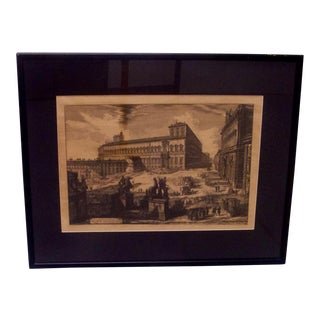 Antique Etching of Piazza DI Monte Cavallo For Sale
