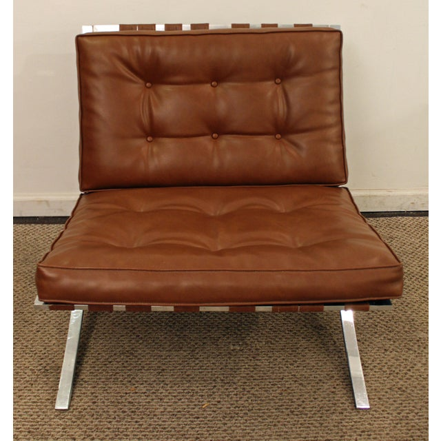 Mid-Century Danish Modern Milo Barcelona Style Chrome Lounge/Accent Chair - Image 4 of 11