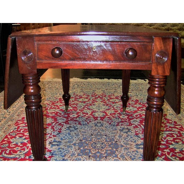 Gold 19c British William IV Mahogany Large Pembroke Table or Sofa Table For Sale - Image 8 of 9