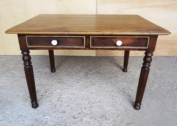 Ceramic Antique French Provincial Farmhouse Country Small Oak Writing Desk  For Sale   Image 7 Of