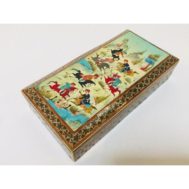 1950s Micro Mosaic Indo Persian Inlaid Jewelry Trinket Box For Sale - Image 5 of 11