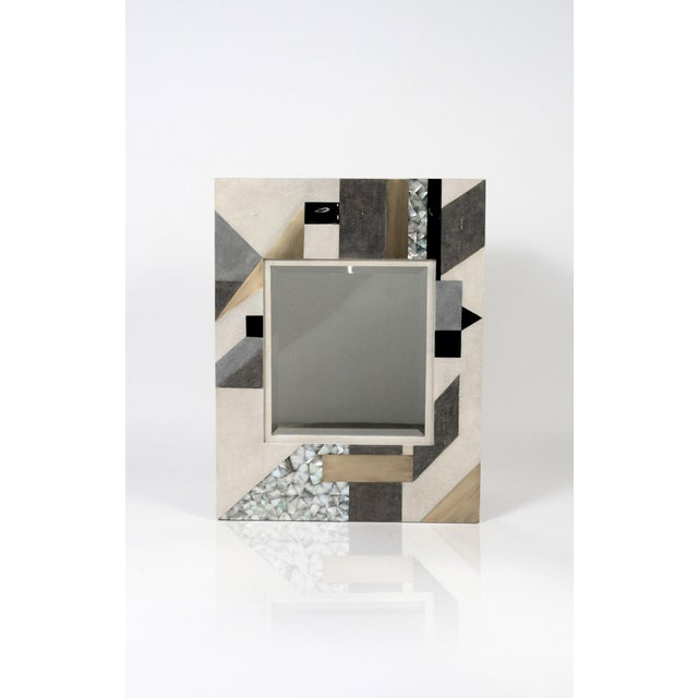 Early 21st Century Zig Zag Mirror in Cream/White Shagreen Shell & Bronze-Patina Brass by Kifu Paris For Sale - Image 5 of 6