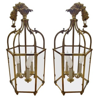 Pair of Vintage Bronze Lantern Style Fixtures For Sale