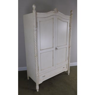 Swedish Style Shabby White Painted 2 Door Armoire Cabinet Preview