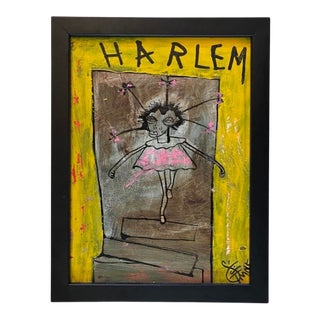 """""""Harlem"""" Contemporary Outsider Street Art Mixed-Media Painting by TMNK, Framed For Sale"""