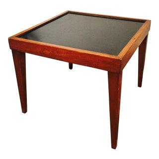 Mid Century Black Top Wood Side Table