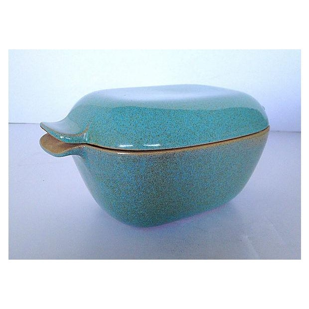 Glidden Antique Matrix Turquoise Casserole Dish For Sale - Image 4 of 9