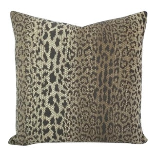"Pindler Lynx in Greystone Pillow Cover - 20"" X 20"" 12"" X 20"" Gray Leopard Animal Print Cushion Case For Sale"