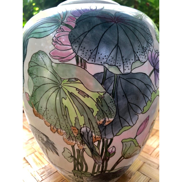 Green Ginger Jar With Water Lillies & Cranes For Sale - Image 8 of 13