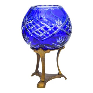 Blue Crystal-Cut Vase W/ Brass Stand For Sale