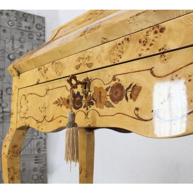 White Italian Burl Wood Inlayed Drop Secretary Desk With Matching Bench Bronze Ormolu For Sale - Image 8 of 13