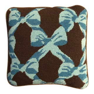Vintage Needlepoint Pillow With Turquoise Bows For Sale