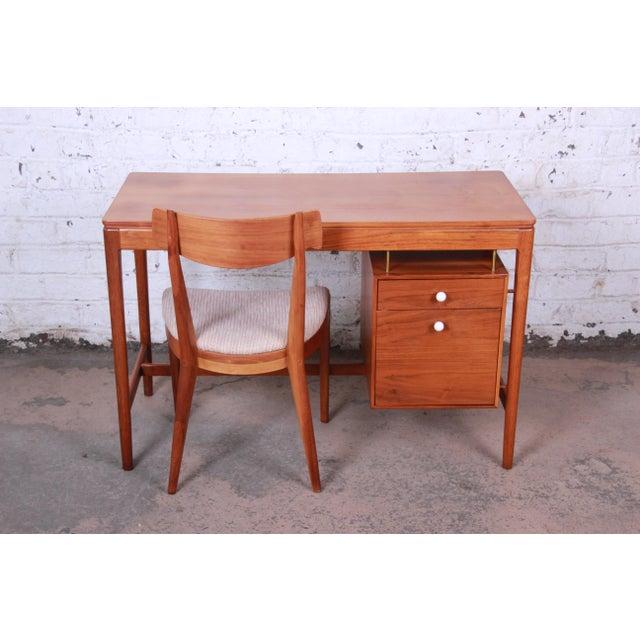 Drexel Declaration Kipp Stewart for Drexel Declaration Mid-Century Modern Walnut Desk and Chair For Sale - Image 4 of 13