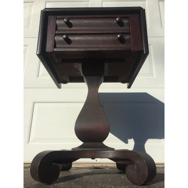 Antique Empire Mahogany Drop Leaf Side Table For Sale - Image 4 of 9