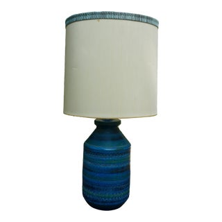Vintage Bitossi for Raymor Mid-Century Modern Turquoise Pottery Lamp For Sale