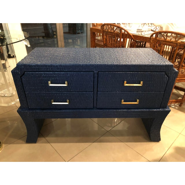 Vintage Blue Lacquered Wicker Brass Credenza Chest Console Table For Sale - Image 13 of 13