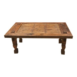 Woven Bamboo and Antique Teakwood Coffee Table For Sale
