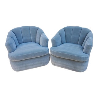 Mid Century Modern Milo Baughman Style Channel Back Swivel Tub Chairs - a Pair For Sale