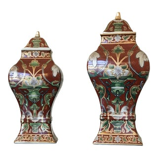 Hand-Painted Chinese Porcelain Lidded Urns - A Pair
