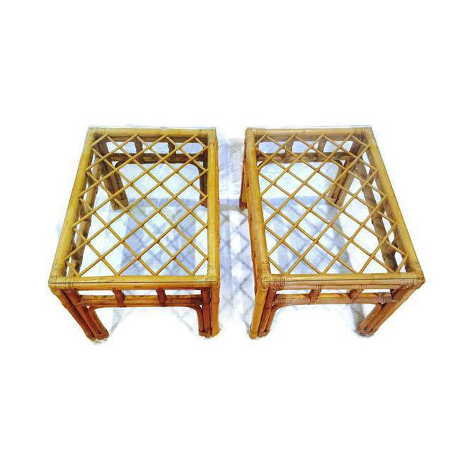 Vintage Bamboo Fretwork End Tables Glass Top Set - a Pair - Image 2 of 7