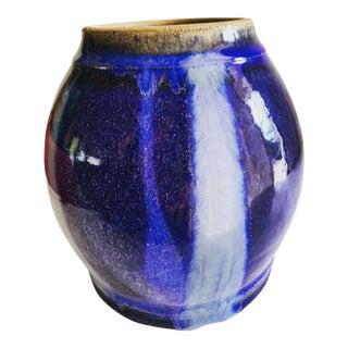 Handmade Rugged Cobalt Blue Pottery Vase For Sale