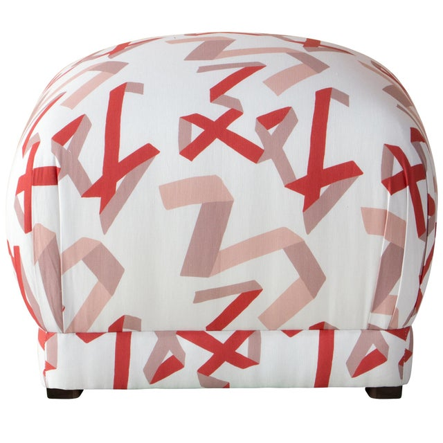 Ottoman in Pink & Red Ribbon by Angela Chrusciaki Blehm for Chairish For Sale In Chicago - Image 6 of 6