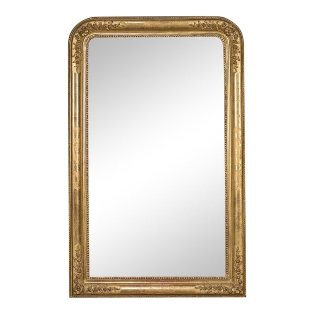 Antique French Louis Philippe Gold Leaf Mirror circa 1870 For Sale