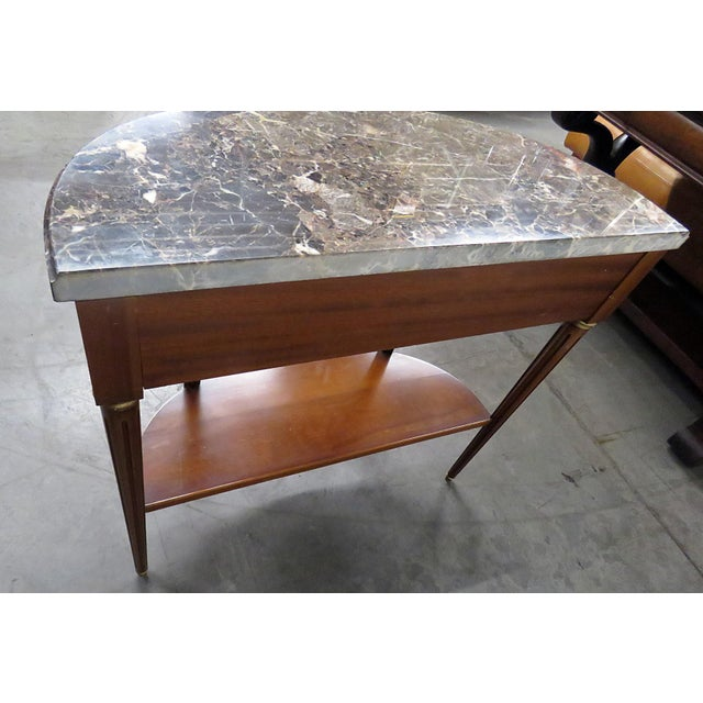 Brown Directoire Style Marble Top Demi-Lune Console Table For Sale - Image 8 of 9
