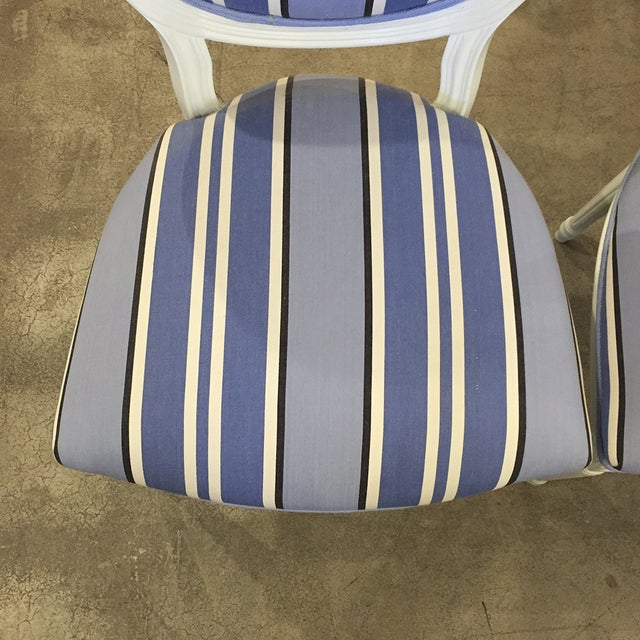 Blue & White Striped Cameo Chairs - Set of 8 - Image 8 of 10