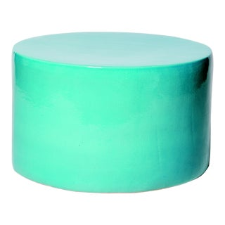 Baby Caroness Handmade Glazed Ceramic Outdoor Accent Table, Turquoise For Sale