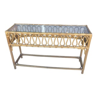 Rattan Wicker Console Table With Scroll Detail