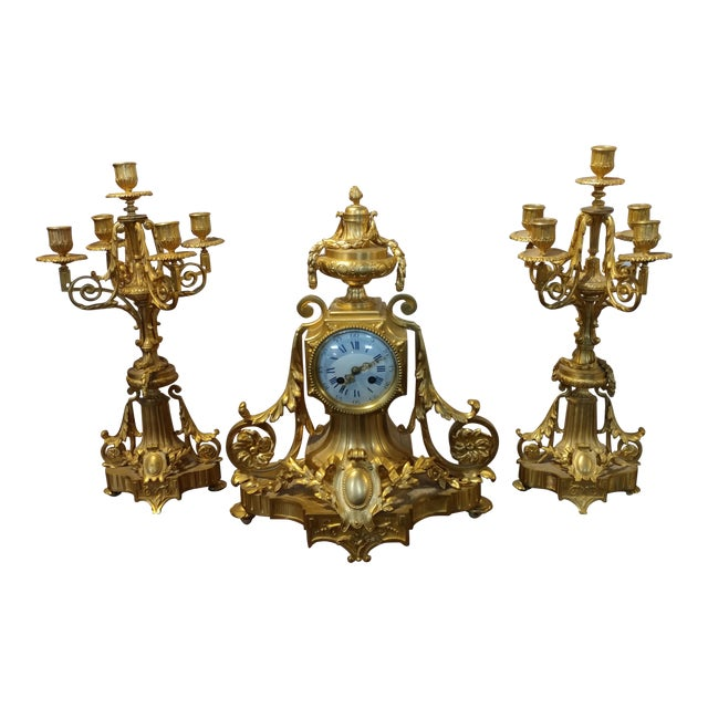 19th century French Empire Clock & Candelabra set-Fabulous Bronze Dore'-c1840s For Sale
